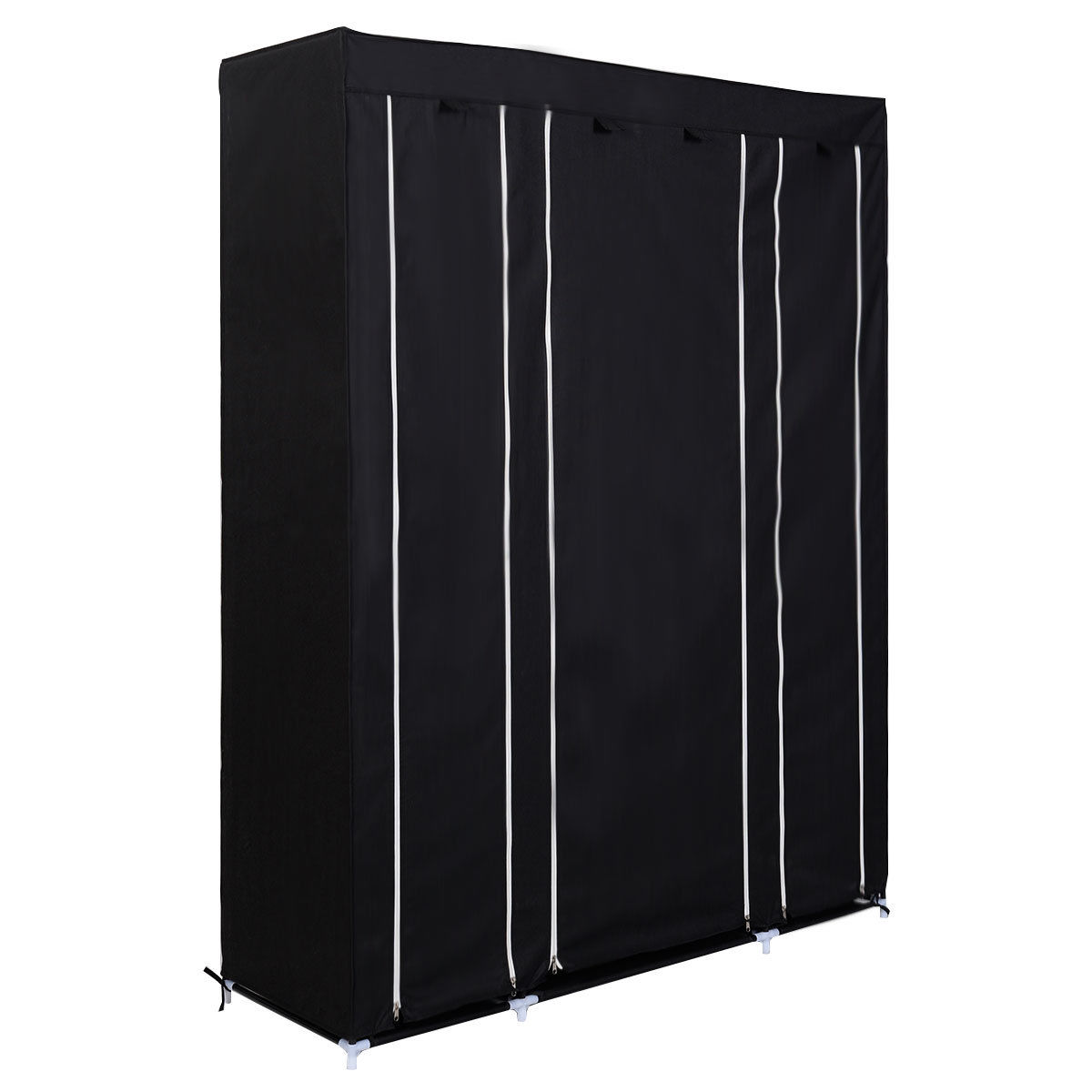 Sdfc double triple multiple canvas wardrobe rail w hanging home furniture storage black