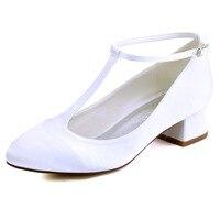 FC1616 Phụ Nữ Da Trắng Ngà Cô Dâu Phù Dâu Toe Closed Chunky Heel Low T-Strap Bơm Satin Evening Wedding Bridal Tòa giày