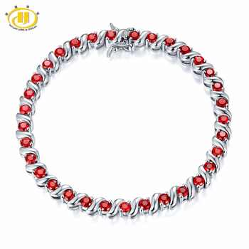 Hutang Stone Jewelry 5.28Ct Natural Garnet Solid 925 Sterling Silver S Link Bracelet for women Gemstone Jewelry Birthday Gift 7