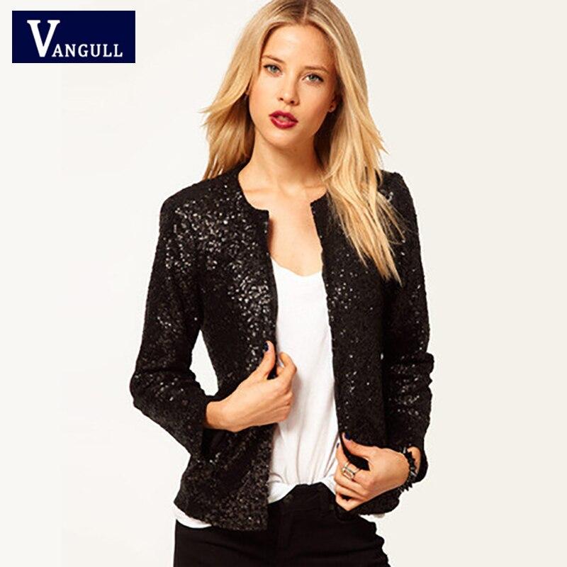 Европейский и американский Новый стиль Женская одежда с блестками с длинным рукавом женская короткая куртка с О-образным вырезом тонкая За...