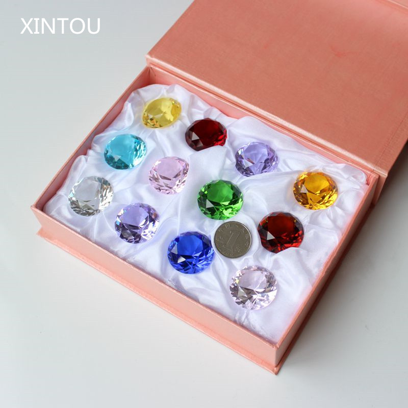 XINTOU 12pcs/set 30 mm Crystal Glass Marbles Diamond Figurines Paperweight Feng shui miniature collectible Gems Crafts Ornaments