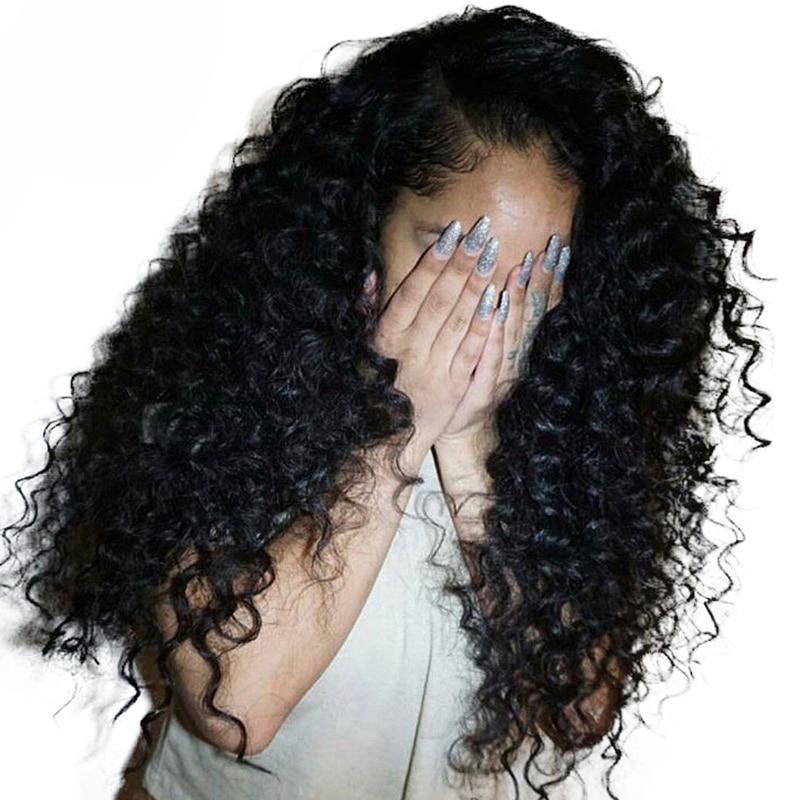 Вьющиеся натуральные волосы парик 250% плотность Синтетические волосы на кружеве парики для Для женщин бразильские Glueless парики шнурка предв...