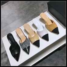 Брендовые женские Шлёпанцы сандалии тапочки кожаные дизайн женские туфли на высоких каблуках, украшенные жемчугом, роскошные дизайнерские женские сандалии с открытой пяткой шлепанцы, тапочки; женская обувь