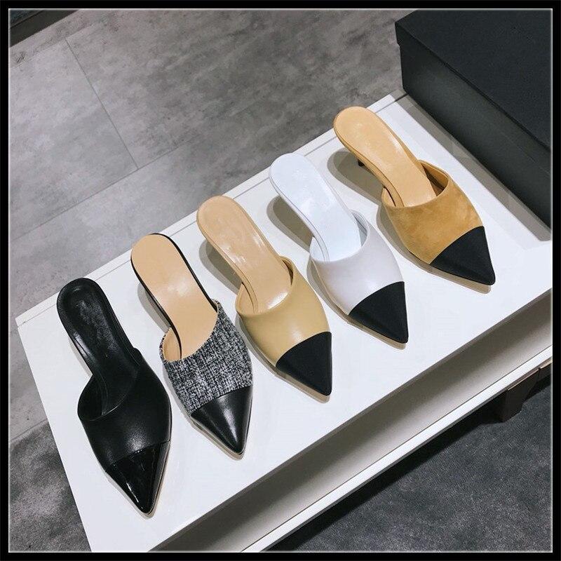العلامة التجارية النساء البغال أحذية مفتوحة الخراف جلدية تصميم كعب امرأة اللؤلؤ الكعوب مصمم الصنادل البغل الشريحة الأحذية والنعال امرأة-في شباشب من أحذية على  مجموعة 1