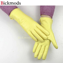New Arrivals Straight Style Female Leather Gloves Light Yellow Sheepskin Wool Lining Spring & Autumn Driving