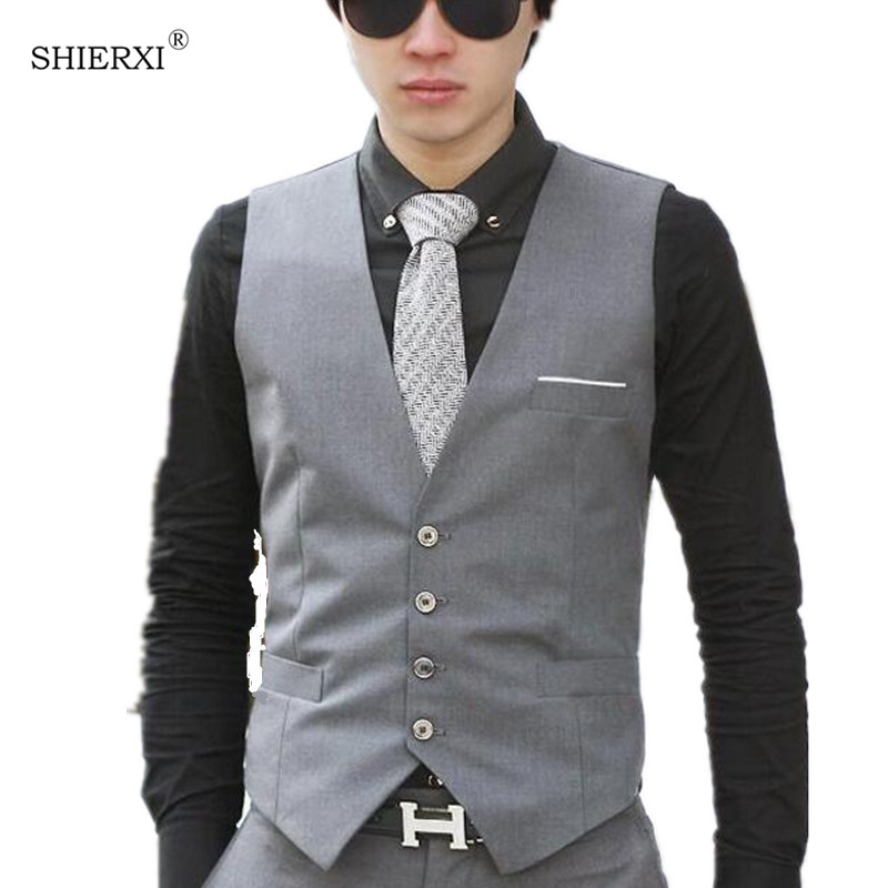 Male cotton dress vests Men casual sleeveless formal ...