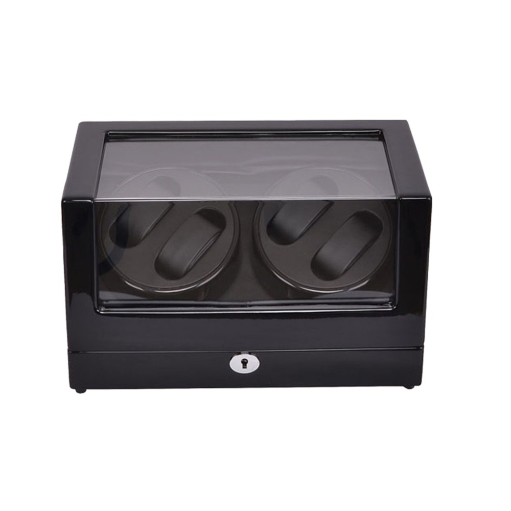 Watch Winder ,LT Wooden Automatic Rotation 4+0 Watch Winder Storage Case Display Box (black-black) watch winder lt wooden automatic rotation 2 0 watch winder storage case display box outside is rose red and inside is white