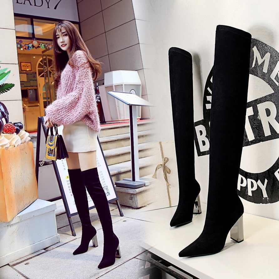 สตรี botas mujer invierno เข่ารองเท้าบูทสูงโลหะส้นสูง 10 ซม.nightclu ชี้ Over-the- เข่า Flock สแควร์ส้น