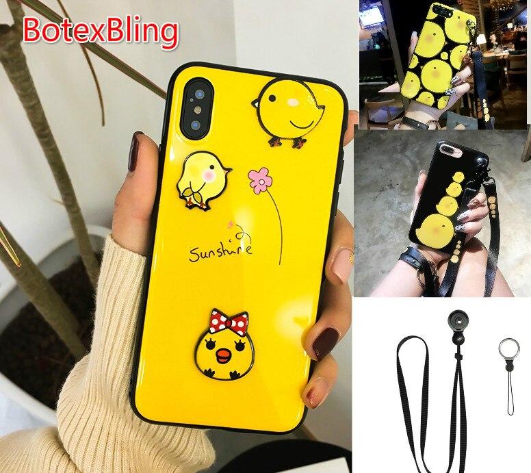 BotexBling Cute cartoon 3D FAI DA TE pulcino CASO IMD tpu cassa del telefono del silicone per iphone x 7 7 plus 8 8 più 6 6 s più 6 più Cordino copertura