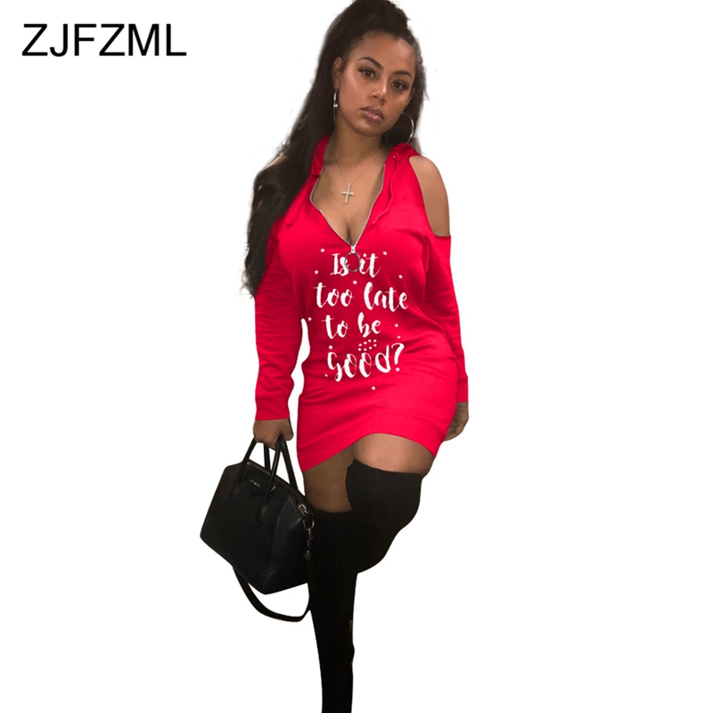 White Letter Print Sexy T Shirt Dress Women Red Off The Shoulder Long Sleeve  Bodycon Dress a79be7083dc0