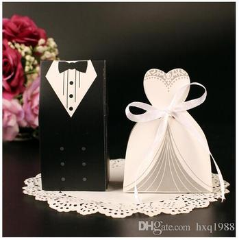 Wholesale New 2pcs/pair bride and groom sweet box wedding favour boxes wedding favors