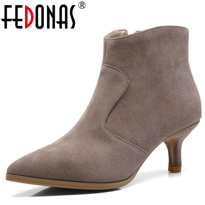FEDONAS 1New Women Ankle Boots Pointed Toe Cow Suede High Heels Shoes Autumn Winter Warm Elegant Office Lady Basic Shoes Woman fedonas 1new women mid calf boots autumn winter warm high heels shoes woman pointed toe elegant bling party prom dancing pumps