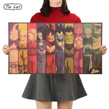 TIE LER Vintage Cartoon Anime Dragon Ball Poster Bar Kids Room Home Decor Comics Kraft Paper Painting 70x39cm