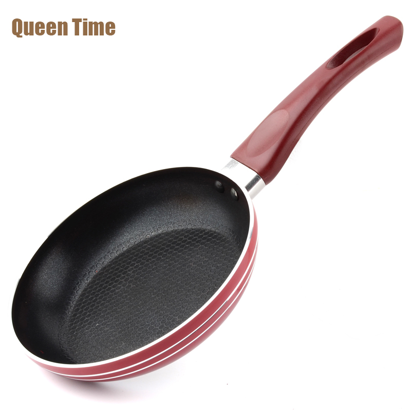 QueenTime 7 Inch Italian Round Frying Pan Fried Egg Pan Aluminum Non-Stick Grill Pans With Tilted Handle For Frying Meat Steak