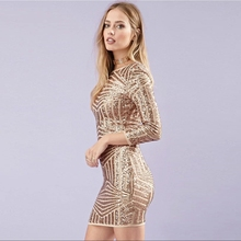 Sexy Women Luxury Glitter Dress Fashion Gold Sequin Design Summer Long Sleeve Bodycon Backless party dresses