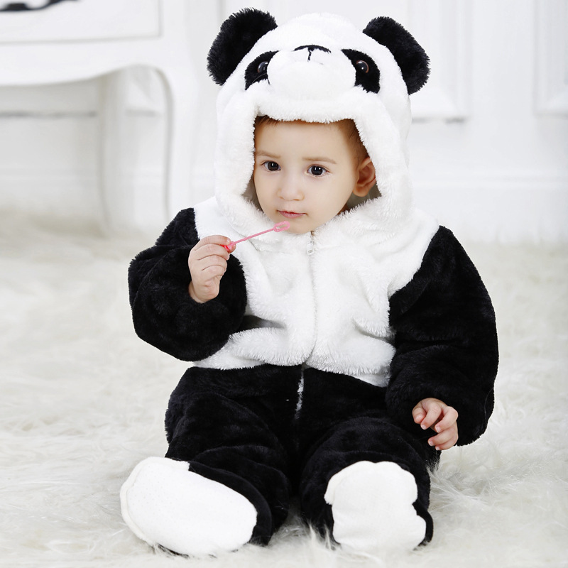 1Pcs lot Top quality 2014 Flannel baby rompers panda model
