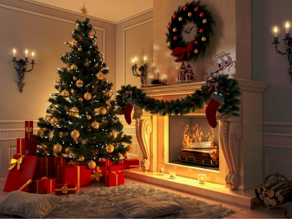 Christmas Tree With Presents.Us 10 73 18 Off 7x5ft Living Room Fireplace Wreath Christmas Tree Gifts Carpet Custom Photography Studio Background Backdrop Vinyl 220cm X 150cm In