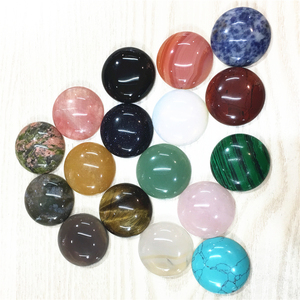 Image 2 - Natural Stone Cabochons Round Beads 30MM Roses Quartz Malachite Agates Opal Fashion Beads For Jewelry Making Wholesale 12PCS