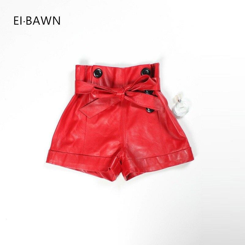 2018 Leather Shorts Women Real Sheepskin Red Black Plus Size High Waist Shorts Feminino Vintage Korean Style Leather Shorts