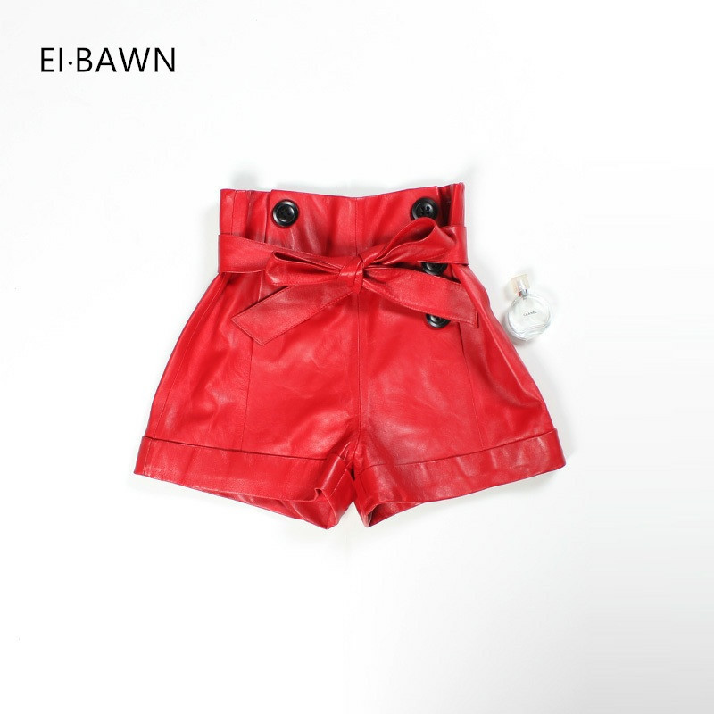2019 Leather Shorts Women Real Sheepskin Red Black Plus Size High Waist Shorts Feminino Vintage Korean Style Leather Shorts