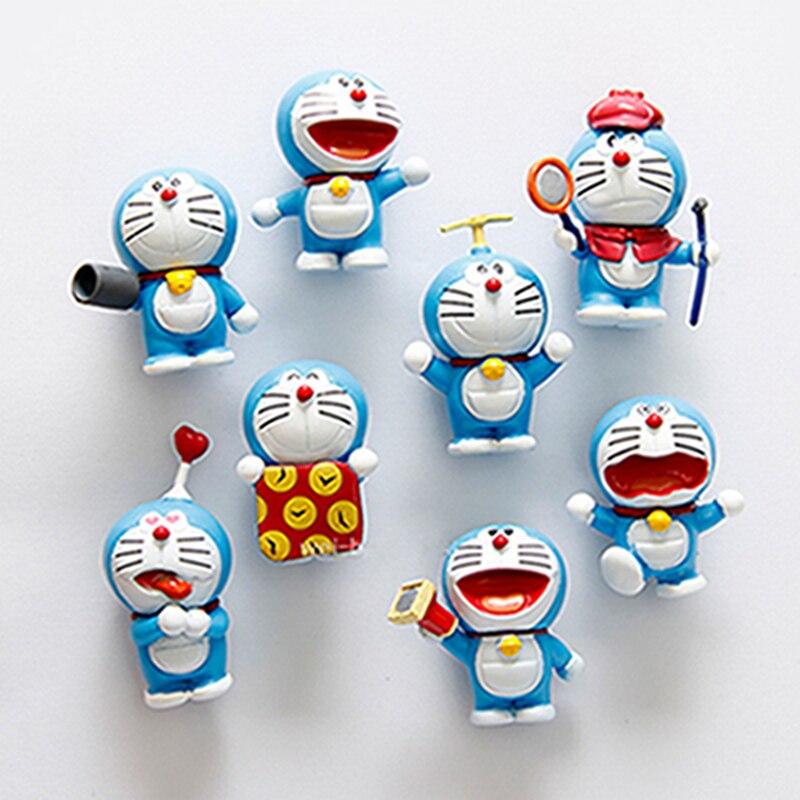 8 Pcs/lot High Quality Cute Doraemon Series Set 3D Fridge Magnet Creative Baby Early Education Refrigerator Magnetic Stickers