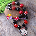 Newest !!! 3pcs/lot Minnie/Mouse necklace child girl chunky beads necklace kids bubblegum necklace jewelry in wholesale