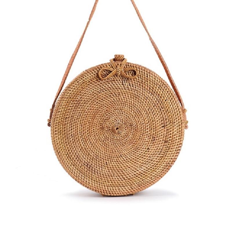 2018 Moroccan Palm Basket Bag Women Hand Woven Round Straw Bags Natural Oval Beach Bag Big Tote Circle Handbag цена