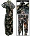 Venda quente das Mulheres Negras Vestido Tradicional Qipao Longo Cheongsam Vestido mujer Feminino plus Size S M L XL XXL XXXL 4XL 5XL 6XL J3095