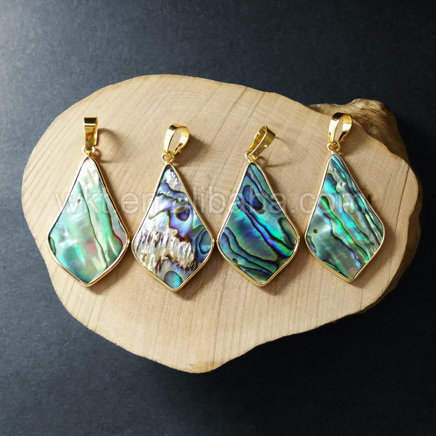 WT- P876 New super quality !Drop pendant jewelry women gold shell pendant,genuine abalone shell pendant in 24k gold trim