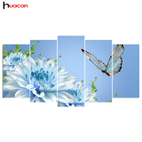 5D DIY Diamond Embroidery Butterfly Flower 5PCS Diamond Painting Cross Stitch Full Drill Rhinestone Multi Picture