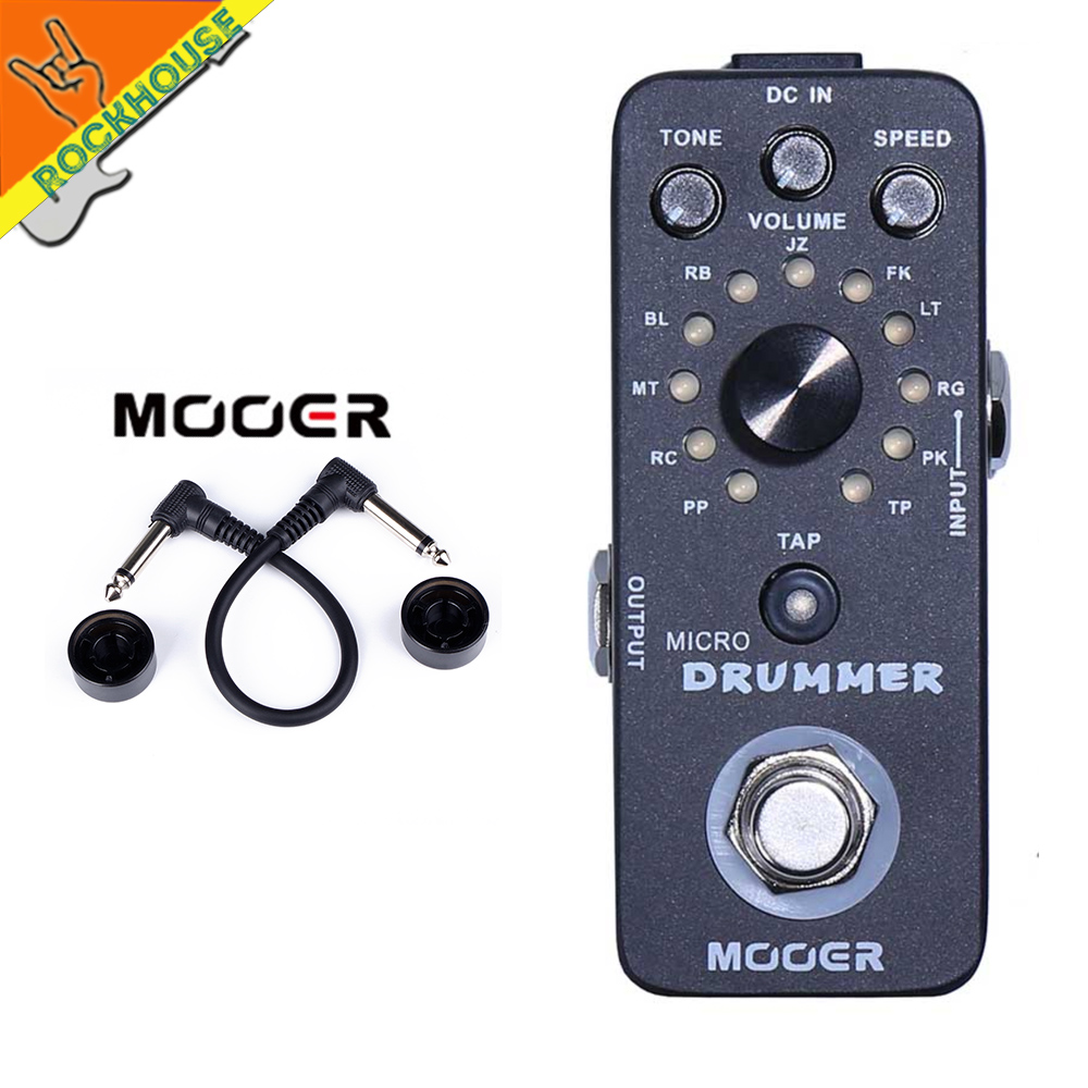 Mooer Micro Drummer Digital Drum Machine Guitar Effects Pedal Personal Drummer 121 Drumbeats 11 Music Styles