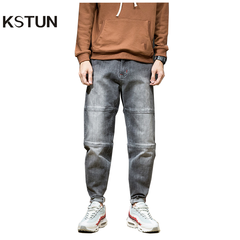 KSTUN Famous Brand Men's Jeans Motocycle Cross Pants Grey Harem Baggy Wide Leg Denim Casual Pants Hip Hop High Street Male Jeans