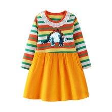 все цены на Long Sleeve Princess Unicorns Kids Girls Dresses New Fashion 2019 Baby Girls Tutu Dresses Spring Autumn Children Clothing онлайн