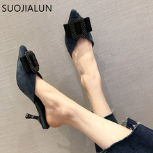 SUOJIALUN Women Summer High Heels Mules Slippers Ladies Pointed Toe Brand Crystal Buckle Sandals Outdoor Slipper Chaussure Femme suojialun 2018 new arrival autumn women slipper pointed toe mules toe square heel outdoor fashion brand sandals