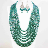 Vintage malachite green round imitation shell pearl abacus crystal 7rows necklace earrings for women ceremony jewelry set B1303