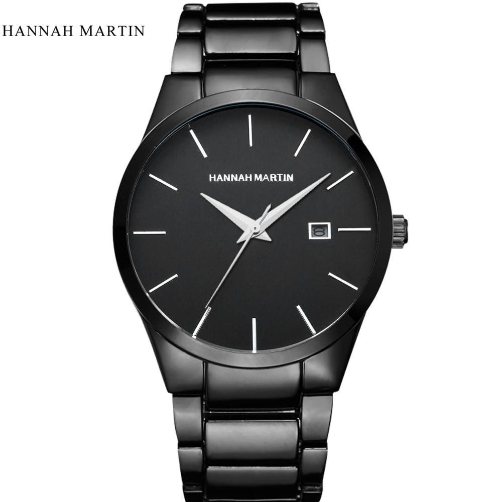 Hannah Martin Luxury Watches Fashion Stainless Steel Watch Men Watch Auto Date Men's Watch Waterproof Clock Hour erkek kol saati