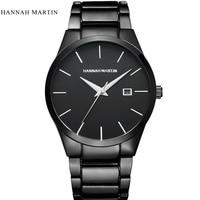 Hannah martin relógio masculino marca superior de luxo relógio esporte completo aço automático data relógios relógio masculino erkek kol saati reloj hombre