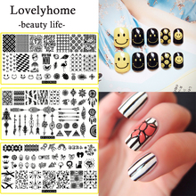 1Pcs Professional Stainless Steel Nail Stamping Plates Clear Templates Flower Animal Geometry Love Valentines Day