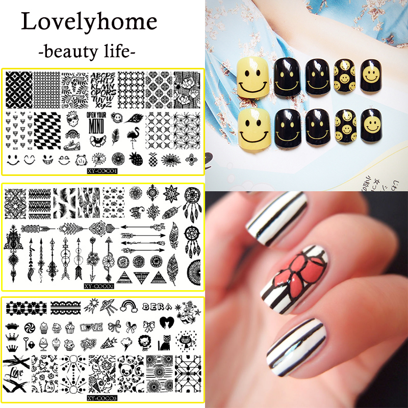 1Pcs Professional Stainless Steel Nail Stamping Plates Clear Templates Flower Animal Geometry Love Valentines Day Nail Plates ...