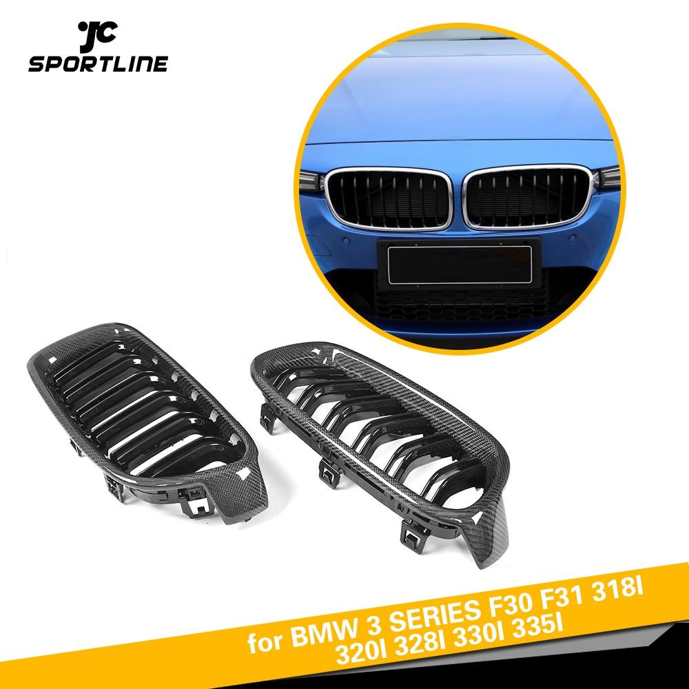 Carbon Fiber 3 Series Dual Slat Front Bumper Center Mesh Racing Grills for BMW F30 F31 318i 320i 328i 330i 335i 2012 2018