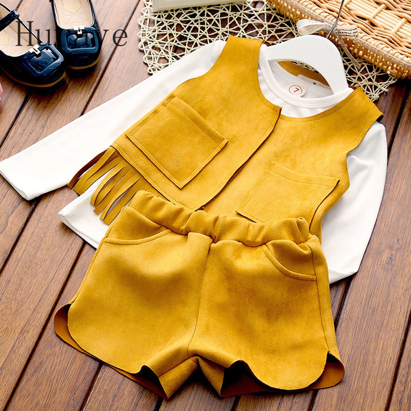 Hurave 2017 Koean Style New Autumn Long Sleeve Girls Kids Clothing Sets Children Suits white T-shirt+Tassel Vest + shorts 3Pcs acthink 2017 new girls formal solid lace dress shirt brand princess style long sleeve t shirts for girls children clothing mc029