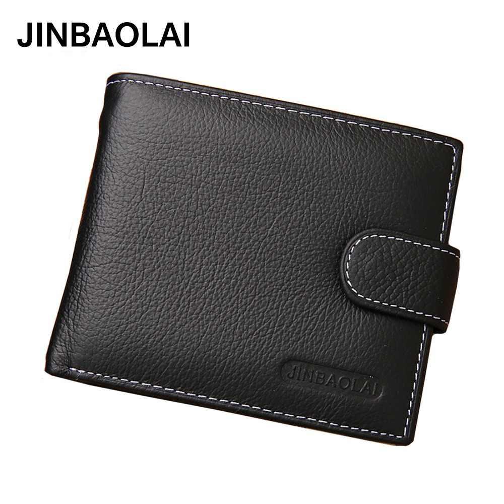 580934063 JINBAOLAI billeteras de los hombres de cuero genuino de vaca corta  cremallera cerrojo de hombre bolso