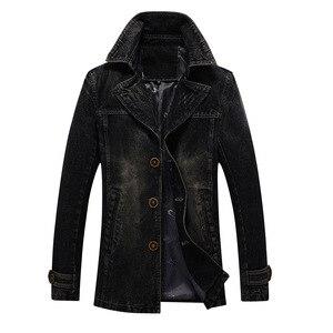 Image 2 - 2018 jaqueta masculina Retro kurtka dżinsowa mężczyźni wiosna skręcić w dół kołnierz kurtka męska klasyczne znosić kurtki dżinsowe płaszcz plus rozmiar