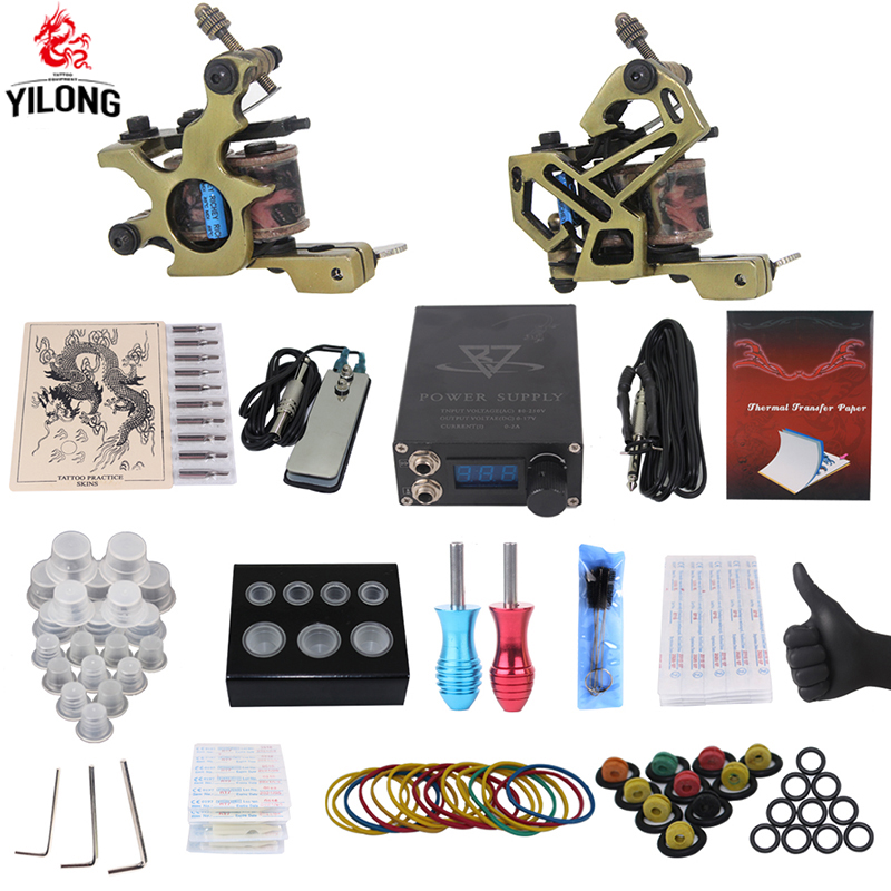 YILONG Professional Complete Tattoo Kit 2 Top Machine Gun 50 mix ink cup 10 Needle Power Supply 3000246-10 yilong  tattoo machine kit professional