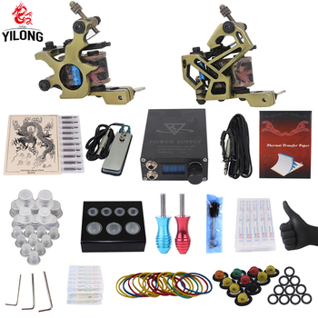 YILONG Professional Complete Tattoo Kit 2 Top Machine Gun 50 mix ink cup 10 Needle Power Supply 3000246-10