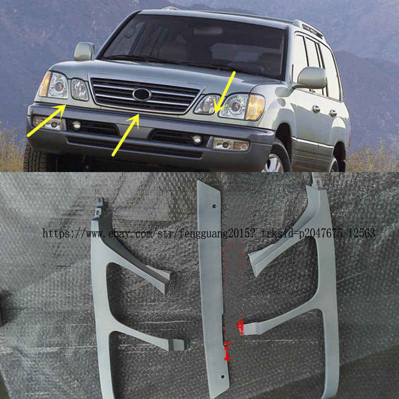 Fit For Lexus LX470 1998 1999 2000 2001 2002 Front Bumper Headlight Trim  Under Mesh Primer 3pcs/set