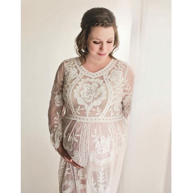 White Casual Womens Sexy Lace Pregnant Photoshoot Dress Maternity Dresses For Photo Shoot Maternity Clothes Photography Props