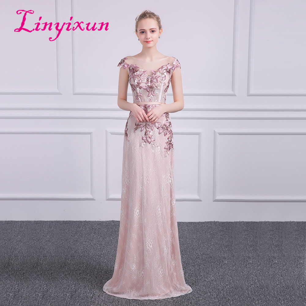 Linyixun Sexy Scoop Lace Long   Prom     Dresses   2018 New Lace Appliques Princess Vintage Evening   Dress   Colorful Vestido De Festa