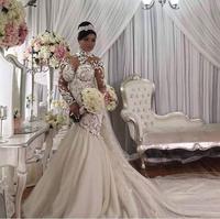 BacklakeGirls Cao Cấp Tùy Chỉnh Ren Appliques Flowers Tòa Train Mermaid Wedding Dresses Beading Pha Lê Bridal Dress
