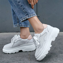 NAYIDUYUN   2019 Shoes Women Lace Up Cow Leather High Heel Pumps Round Toe Wedges Platform Ankle Boots Tennis Shoes Casual Shoes недорго, оригинальная цена